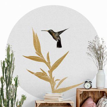 Runde Tapete selbstklebend - Kolibri und tropische goldene Blüte II