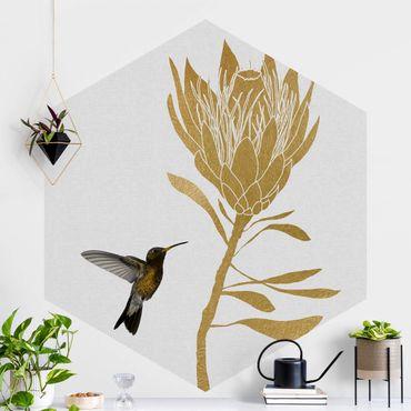 Hexagon Mustertapete selbstklebend - Kolibri und tropische goldene Blüte