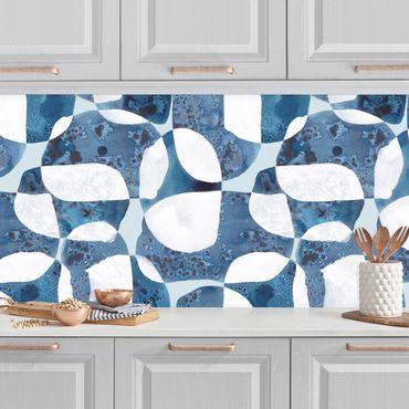 Küchenrückwand - Lebende Steine Muster in Blau