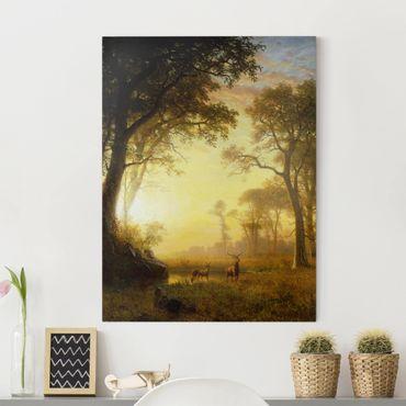 Leinwandbild - Albert Bierstadt - Sonnenbeschienene Lichtung - Hoch 3:4