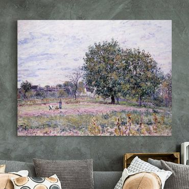 Leinwandbild - Alfred Sisley - Walnussbäume im Abendlicht - Anfang Oktober - Quer 4:3