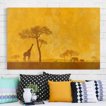 Afrika Leinwandbild Amazing Kenya - Giraffe, Elefanten, Gelb, Quer 3:2