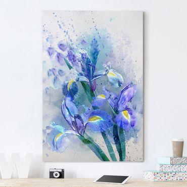 Leinwandbild - Aquarell Blumen Iris - Hoch 2:3