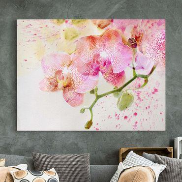 Leinwandbild - Aquarell Blumen Orchideen - Quer 4:3