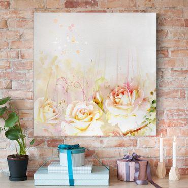 Leinwandbild - Aquarell Blumen Rosen - Quadrat 1:1
