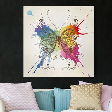 Leinwandbild - Aquarell Schmetterling - Quadrat 1:1