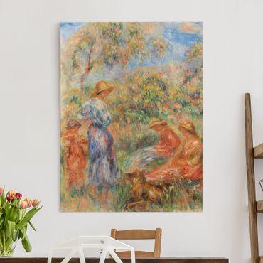 Leinwandbild - Auguste Renoir - Zwei sitzende und eine stehende Frau, ein Kind (Landschaft mit drei Frauen und einem Kind) - Hoch 3:4