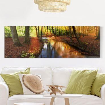 Leinwandbild - Autumn Fairytale - Panorama Quer