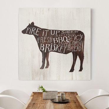 Leinwandbild - Bauernhof BBQ - Kuh - Quadrat 1:1