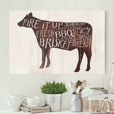 Leinwandbild - Bauernhof BBQ - Kuh - Querformat 2:3