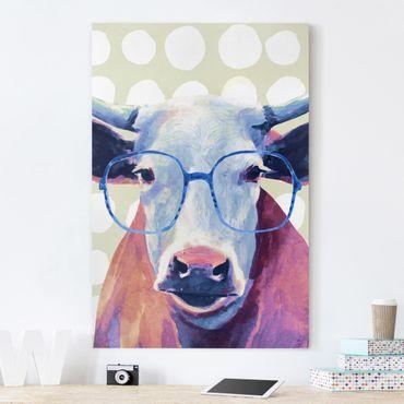 Leinwandbild - Bebrillte Tiere - Kuh - Hochformat 3:2