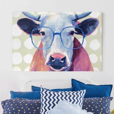 Leinwandbild - Bebrillte Tiere - Kuh - Querformat 2:3