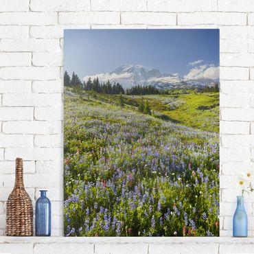 Leinwandbild - Bergwiese mit Blumen vor Mt. Rainier - Quer 3:2