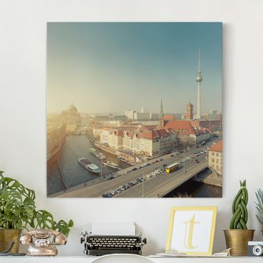 Leinwandbild - Berlin am Morgen - Quadrat 1:1