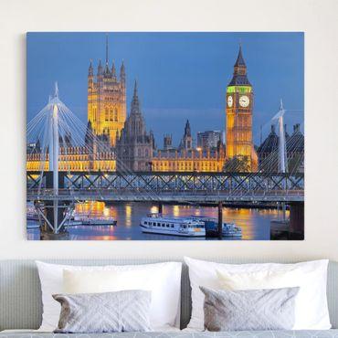 Leinwandbild - Big Ben und Westminster Palace in London bei Nacht - Quadrat 1:1