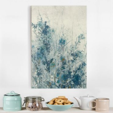 Leinwandbild - Blaue Frühlingswiese I - Hochformat 3:2