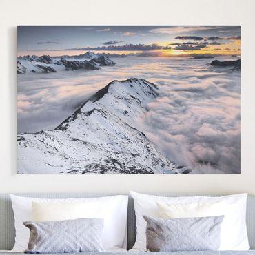 Leinwandbild - Blick über Wolken und Berge - Quer 3:2