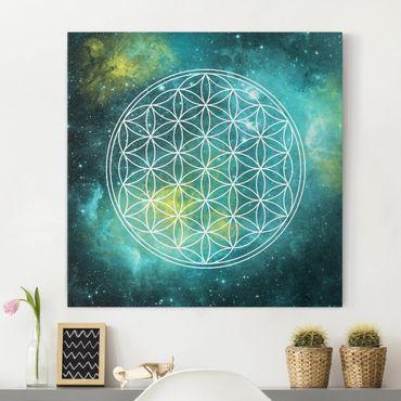 Leinwandbild - Blume des Lebens im Licht der Sterne - Quadrat 1:1