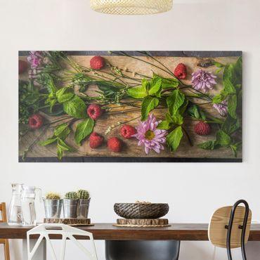 Leinwandbild - Blumen Himbeeren Minze - Quer 2:1