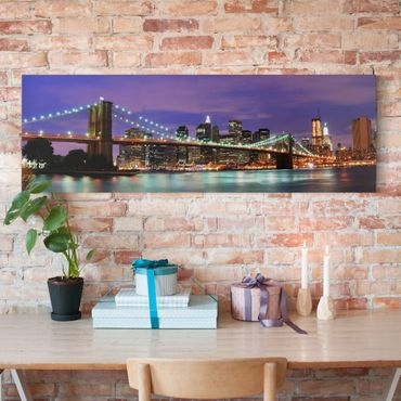 Leinwandbild - Brooklyn Bridge in New York City - Panorama Quer