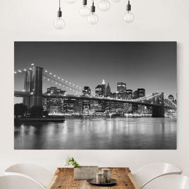 Leinwandbild Schwarz-Weiß - Brooklyn Brücke in New York II - Quer 3:2