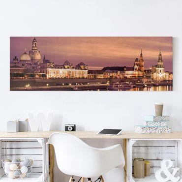 Leinwandbild - Canalettoblick Dresden - Panorama Quer