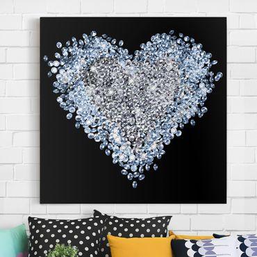 Leinwandbild - Diamant Herz - Quadrat 1:1