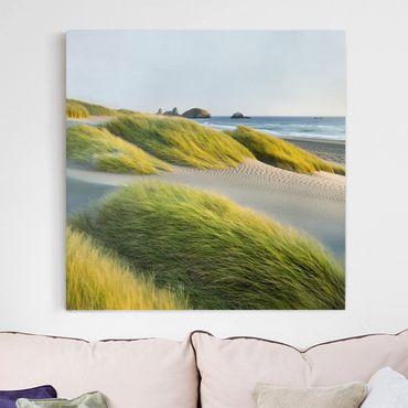Leinwandbild - Dünen und Gräser am Meer - Quadrat 1:1
