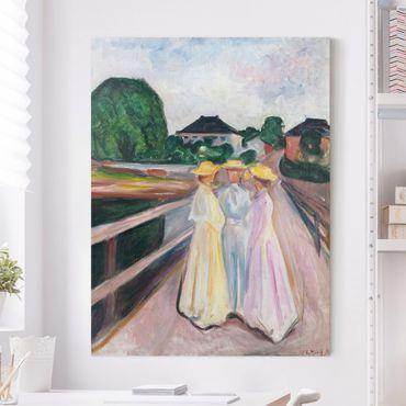Leinwandbild - Edvard Munch - Drei Mädchen auf der Brücke - Hoch 3:4