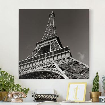 Leinwandbild Schwarz-Weiß - Eiffelturm - Quadrat 1:1