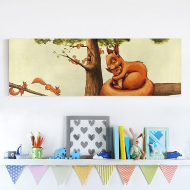 Leinwandbild - Einhörnchen Mama - Panorama Quer