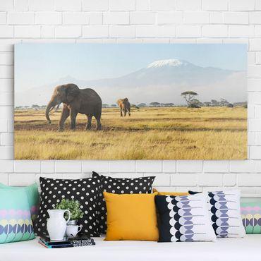 Afrika Leinwandbild Elefanten vor dem Kilimanjaro in Kenya - Quadrat 1:1
