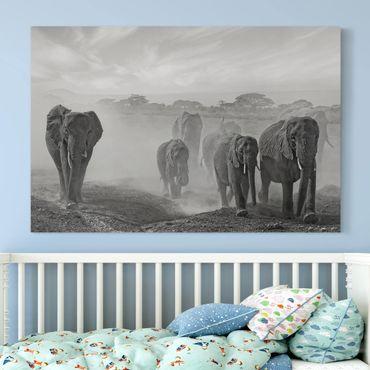 Leinwandbild - Elefantenherde - Quer 3:2