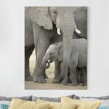 Leinwandbild - Elefantenliebe - Hoch 3:4