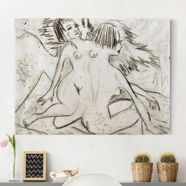 Leinwandbild Schwarz-Weiß - Ernst Ludwig Kirchner - Zwei Mädchenakte unter Tannen - Quer 4:3