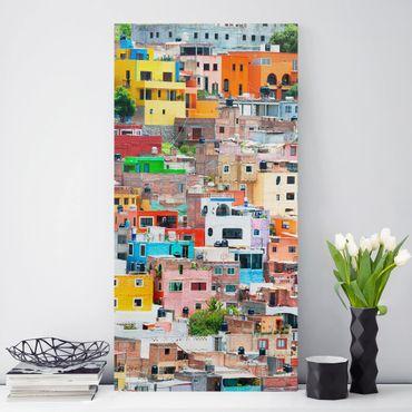 Leinwandbild - Farbige Häuserfront Guanajuato - Hoch 2:3