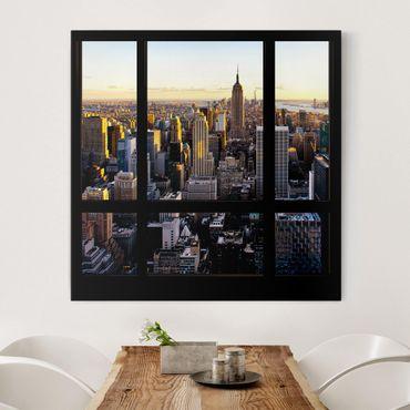 Leinwandbild - Fensterblick am Abend über New York - Quadrat 1:1