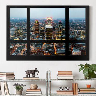 Leinwandbild - Fensterblick auf beleuchtete Skyline von London - Quer 3:2