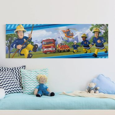 Leinwandbild - Feuerwehrmann Sam - Immer in Aktion - Panorama 1:3