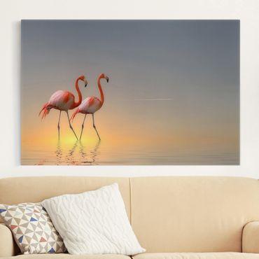 Leinwandbild - Flamingo Love - Quer 3:2