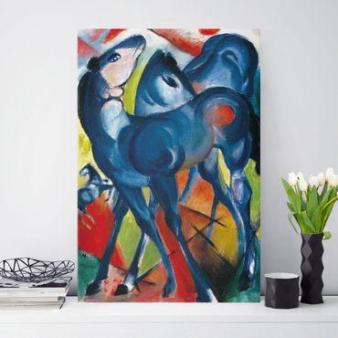 Leinwandbild Franz Marc - Gemälde Die Blauen Fohlen - Hoch 2:3