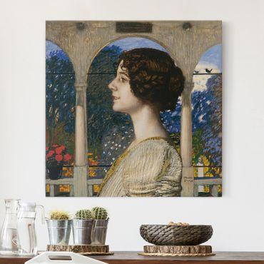 Leinwandbild - Franz von Stuck - Weibliches Portrait, in der Säulenhalle - Quadrat 1:1