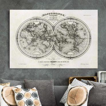 Leinwandbild Schwarz-Weiß - Französische Karte der Hemissphären von 1848 - Quer 3:2
