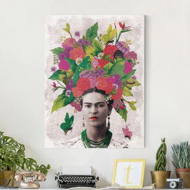 Leinwandbild - Frida Kahlo - Blumenportrait - Hochformat 3:4