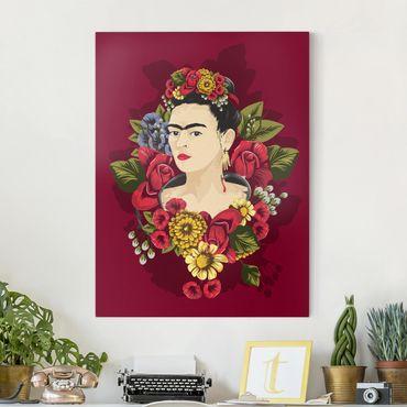 Leinwandbild - Frida Kahlo - Rosen - Hochformat 3:4
