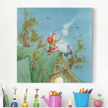 Leinwandbild - Frida und Kater Pumpernickel lassen die Sterne frei - Quadrat 1:1