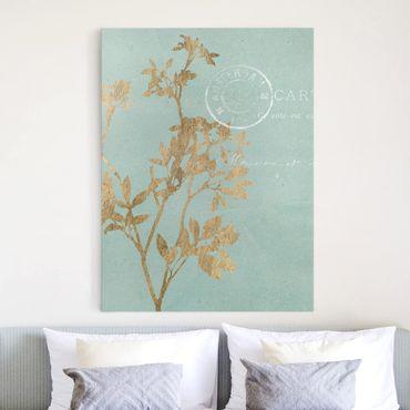 Leinwandbild - Goldene Blätter auf Turquoise I - Hochformat 4:3