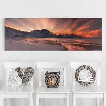 Leinwandbild - Goldener Sonnenuntergang - Panorama Quer