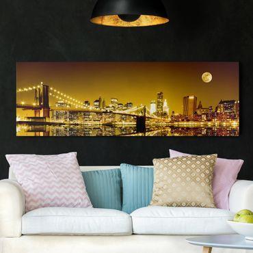 Leinwandbild - Goldenes New York - Panorama Quer