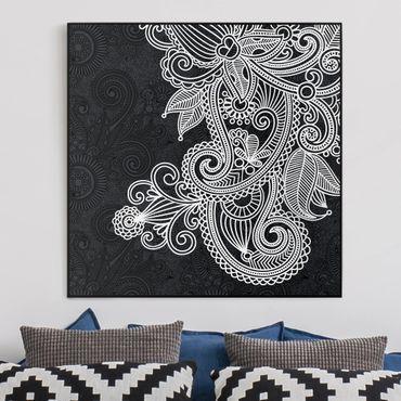 Leinwandbild Schwarz-Weiß - Gothic Ornament - Quadrat 1:1